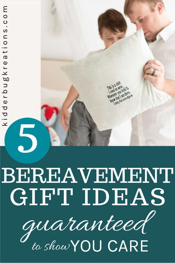 Father and son looking at a memory pillow with Bereavement Gift Ideas guaranteed to show you care written below.