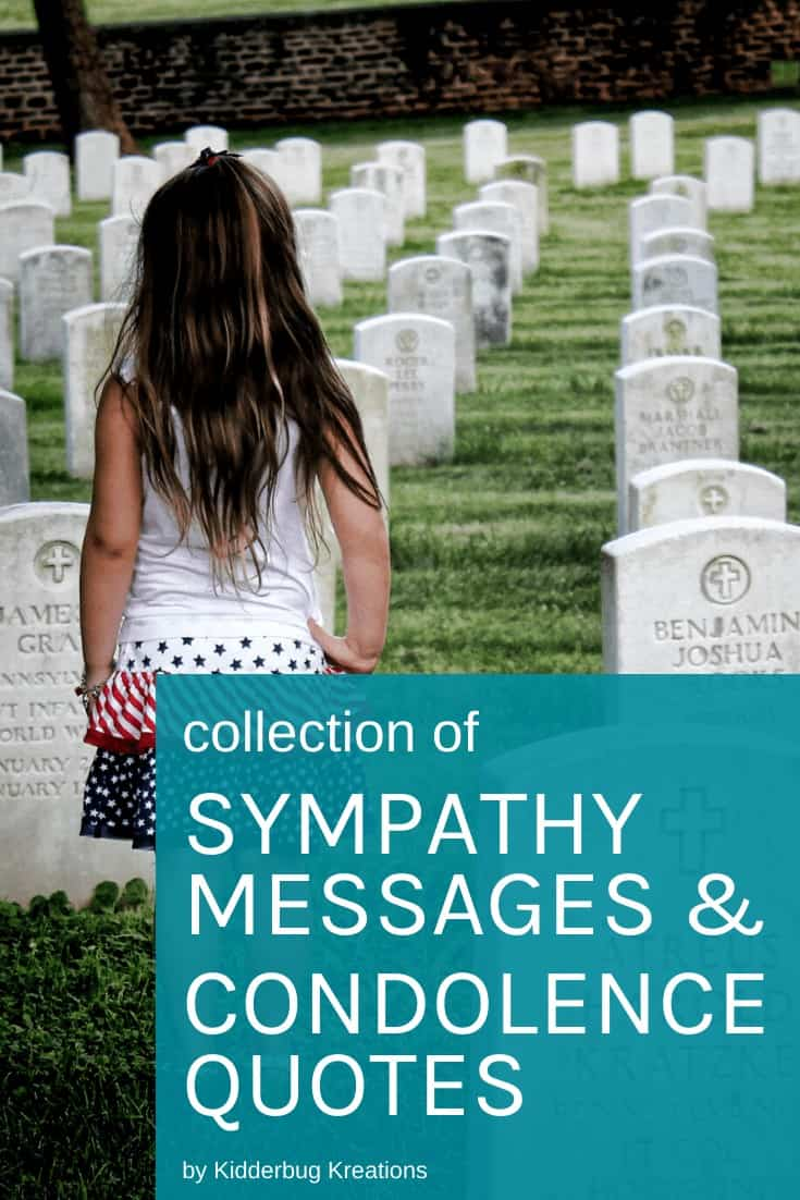 A little girl standing in a cemetary with the text Collection of Sympathy Messages and Condolence Quotes written on the side.