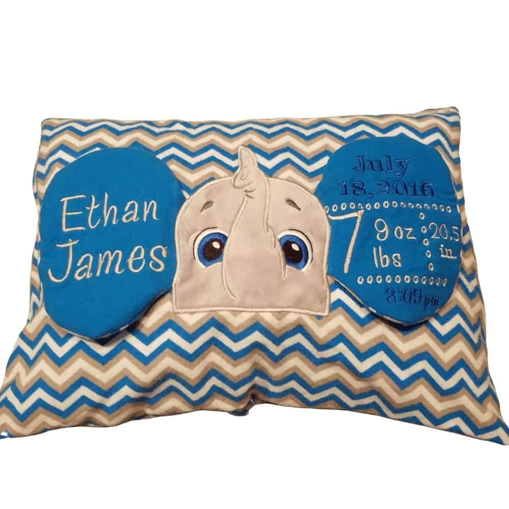 Elephant birth announcement pillow for a baby boy made by Kidderbug Kreations. A perfect gift for your grandson.