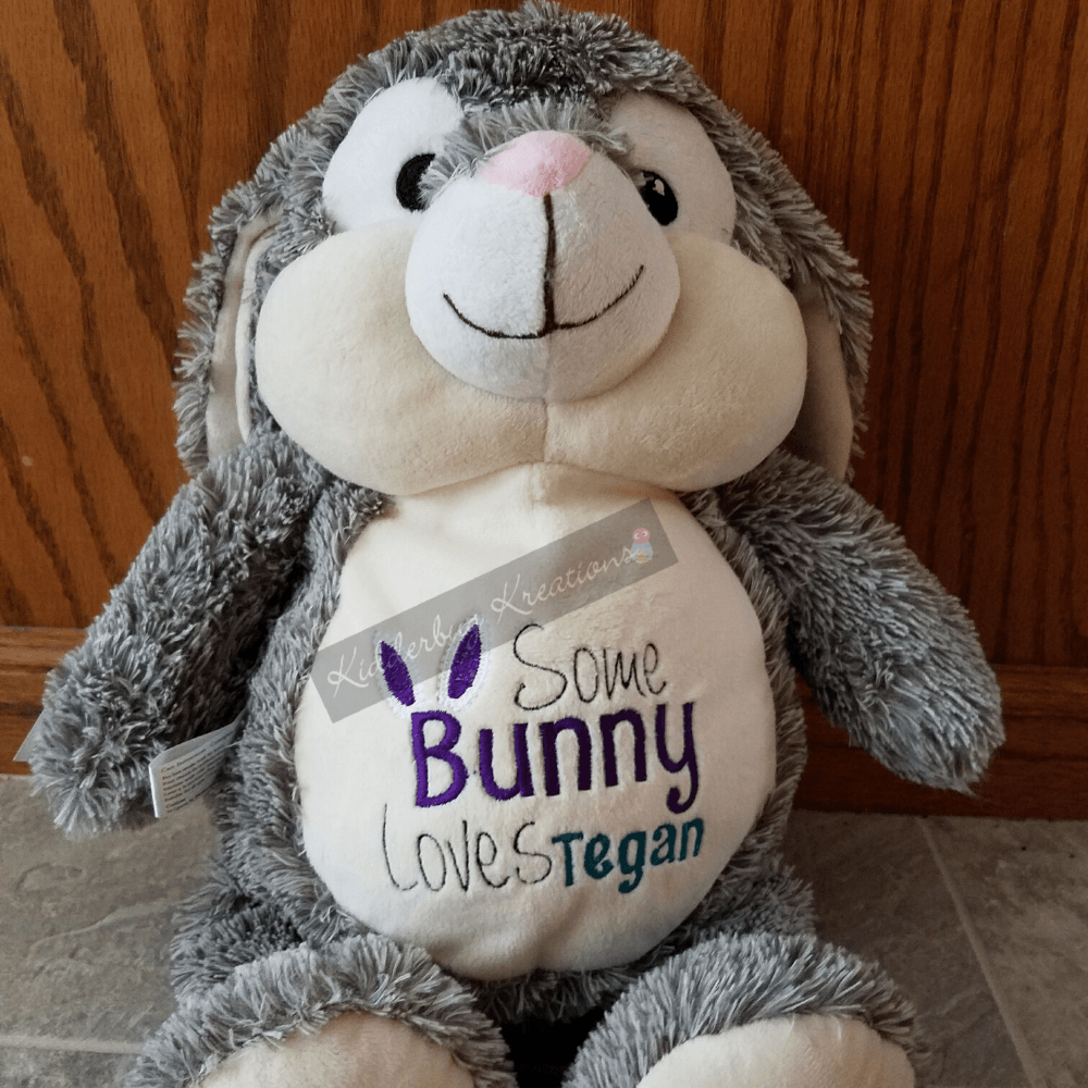 Personalized embroidered bunny from Kidderbug Kreations.