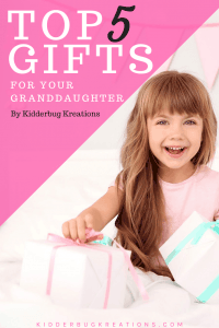 Top 5 gifts for your granddaughter with a little girl sitting with several presents.