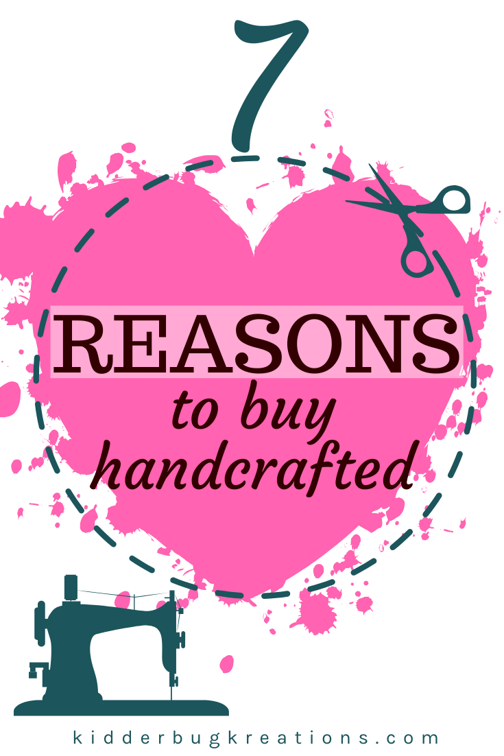 Pink heart with a dashed line around it and a sewing machine at the bottom. 7 Reasons to buy Handcrafted written on the top.