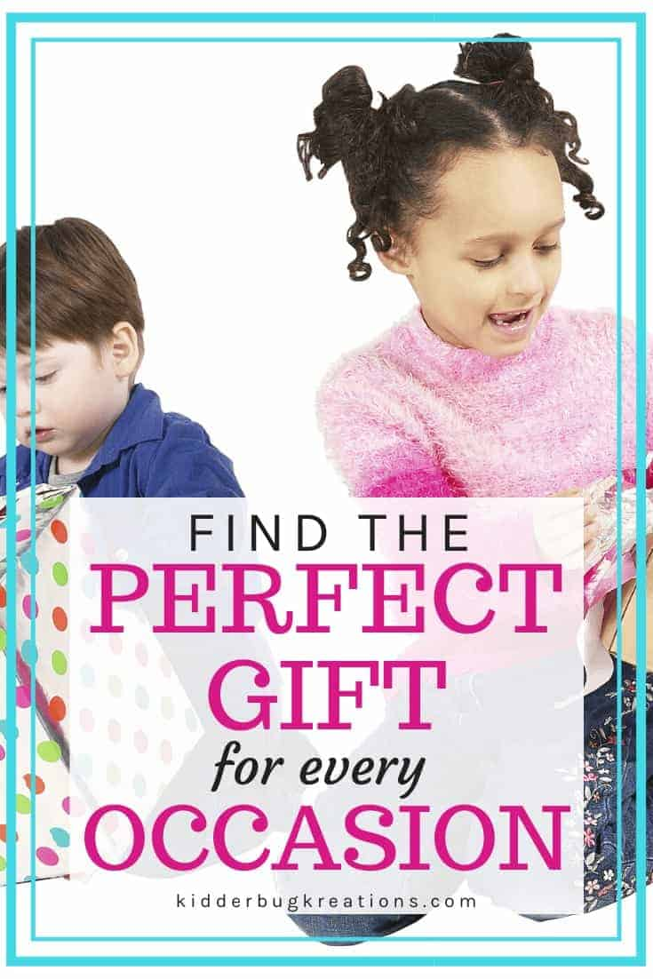 Boy and girl opening presents and the words Find the Perfect Gift for Every Occasion written on top.