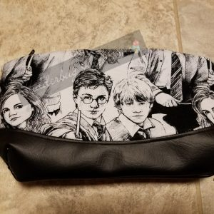 clutch purse - Clematis pattern-Harry Potter black and white fabric