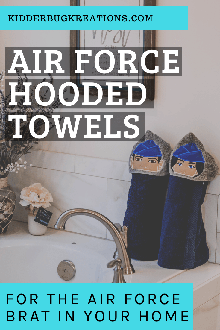 Military families will love these Air Force hooded towels for kids. They are a great newborn baby gift idea. Perfect for a baby shower gift or a fun baby sprinkle gift idea. Since it\'s a full sized hooded bath towel, it will also be a great toddler gift idea, birthday party idea, and the perfect gift idea for military kids. Shop kidderbugkreations.com for lots of gift giving ideas. #kidderbugkreations #handcrafted #giftidea #personalized #customgifts #birthday