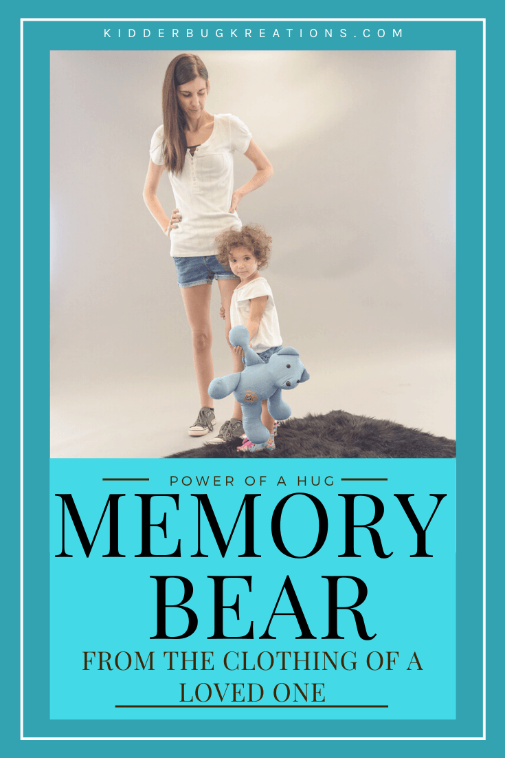 A memory bear made from clothing of your loved one will be a great keepsake for years to come. This memory bear from shirts is the perfect handcrafted gift idea to remember a loved one who passed away. It\'s a great gift idea for child who lost grandparent, gifts for parent who lost a child, and gifts for child who lost a parent. Shop kidderbugkreations.com for sympathy gifts for loss. #kidderbugkreations #handcrafted #giftidea #personalized #customgifts loved one in heaven quotes, memory pillow