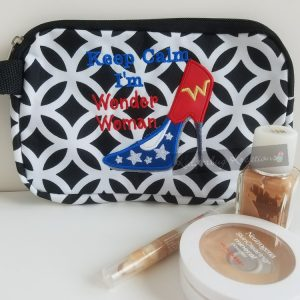 Cosmetic bag with amazing woman design