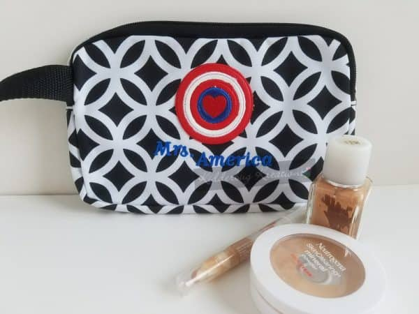 Cosmetic bag with american hero symbol embroidered design