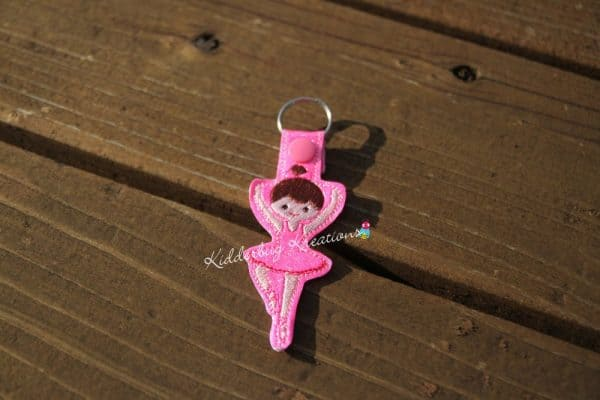 keychain ballerina, zipper pull, backpack tag, key fob
