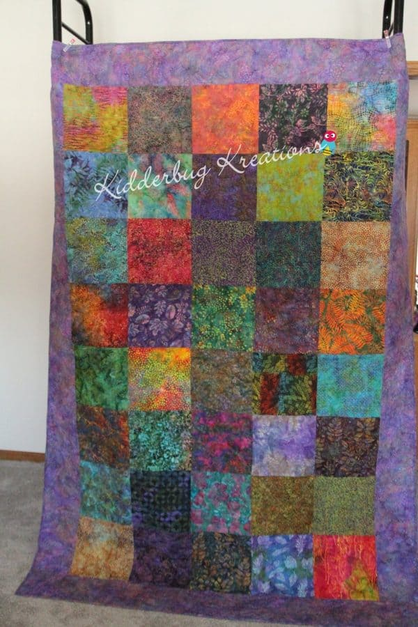 Batik Squares with Purple Border Quilt