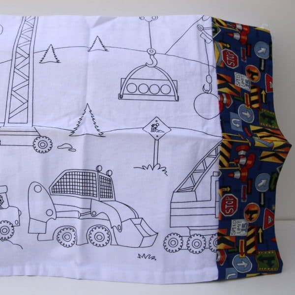 Construction Coloring Travel Pillowcase