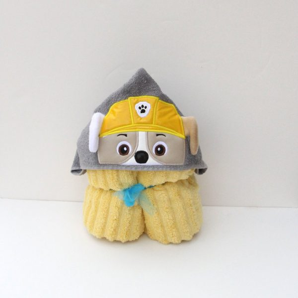 Construction Pup Hooded Towel