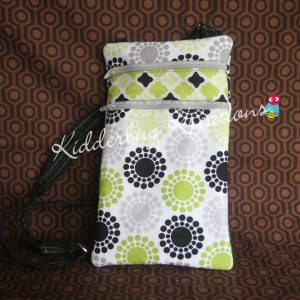 Purse-crossbody-green and black circles