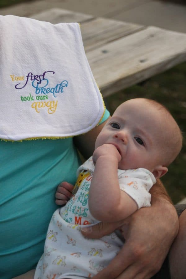 Your First Breath Burp Cloth.