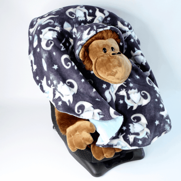 Car Seat Poncho with Dragon Fleece