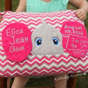 Elephant Birth Announcement Pillow