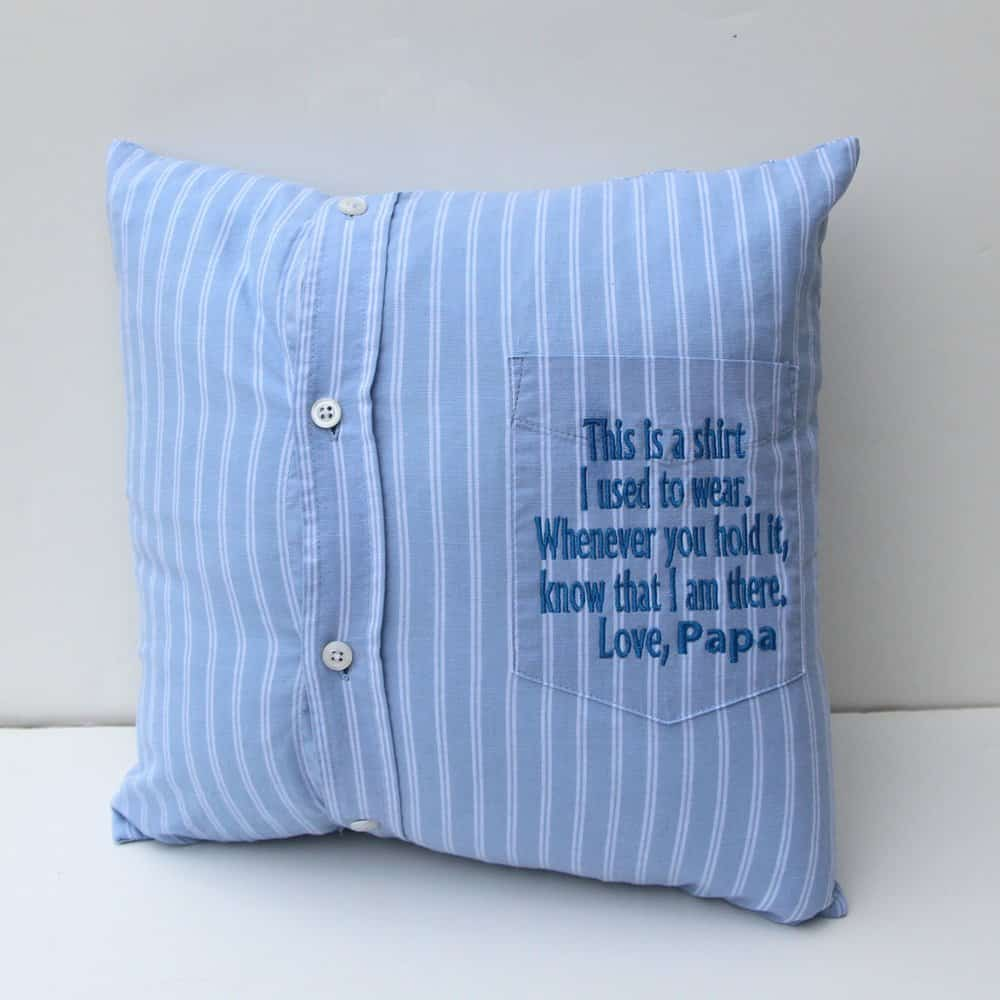 Memory shirt pillow as a sympathy gift idea