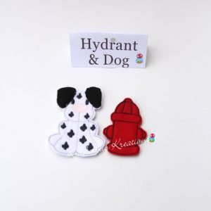 Non paper doll fire hydrant and dalmation