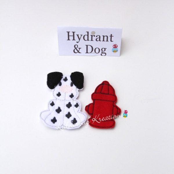 Non paper doll fire hydrant and dalmation