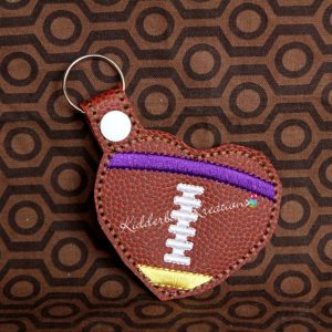 keychain football heart, zipper pull, backpack tag, key fob
