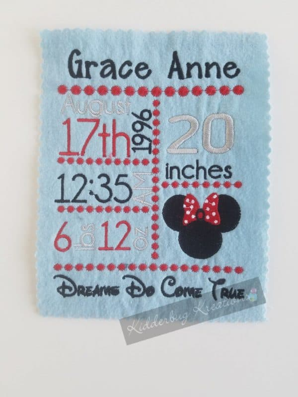 Girl Mouse birth stats announcement