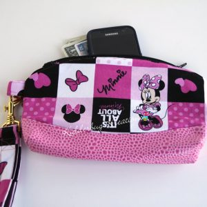 Minnie mouse fabric clutch purse