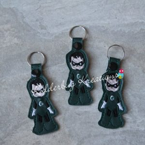 Green ring hero keychain, zipper pull, backpack tag, key fob