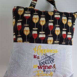"""Happiness Is a Bottle of Wine"" Reading Pillow"