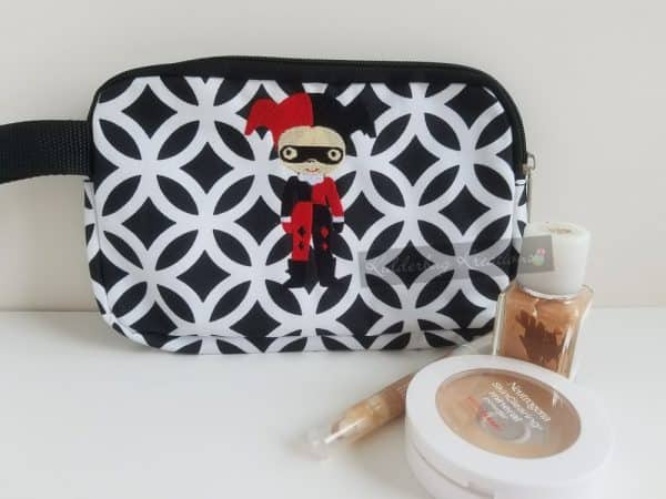 Cosmetic bag with jester girl design