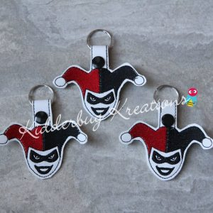 Jester girl keychain, zipper pull, backpack tag, key fob