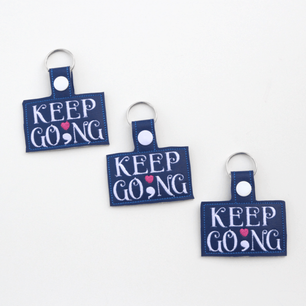 Keep Going Semicolon Keychain