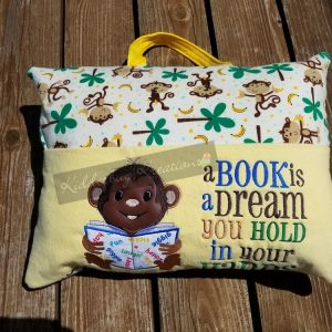 Monkey Reading Pillow