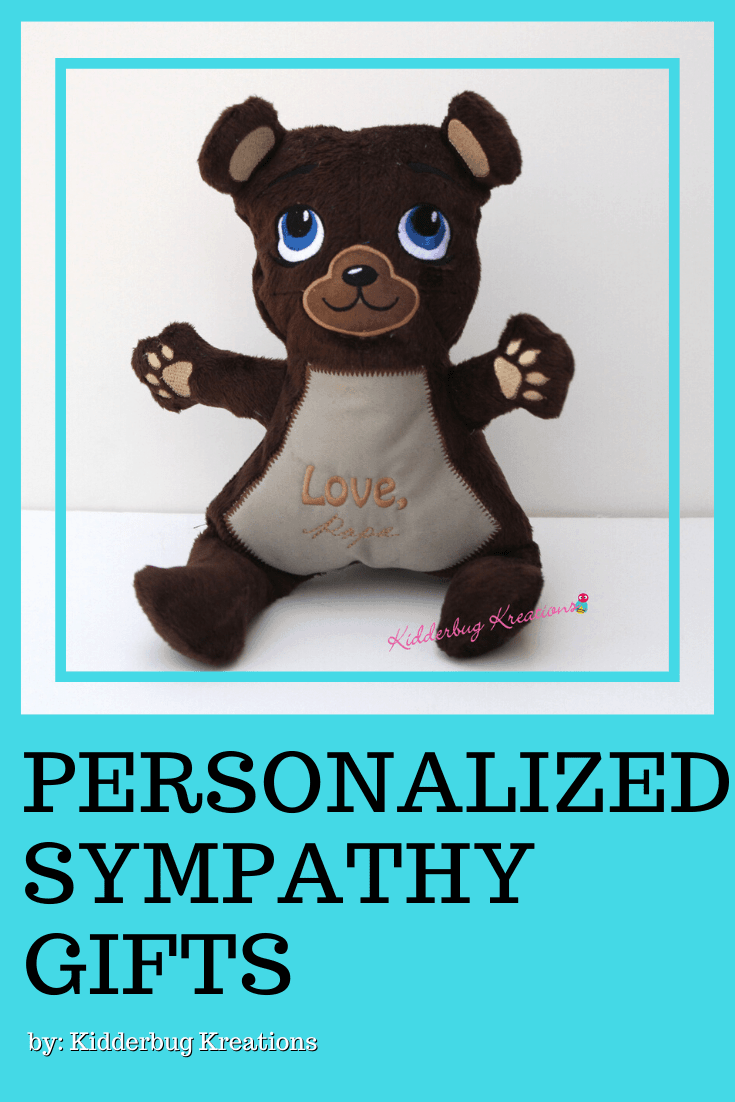 A memory bear made from clothing of your loved one is a great keepsake for years to come. This memory bear is the perfect handcrafted gift idea to remember a loved one who passed away. A wonderful gift idea for child who lost grandparent, gifts for parent who lost a child, and gifts for child who lost a parent. Shop kidderbugkreations.com for a large selection of sympathy gifts for loss. #kidderbugkreations #handcrafted #giftidea #personalized #customgifts #memorybear