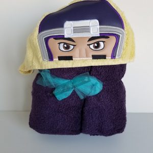 Football Player With Purple Helmet Hooded Towel