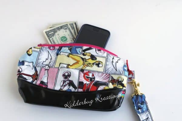 Power Ranger fabric clutch clematis purse