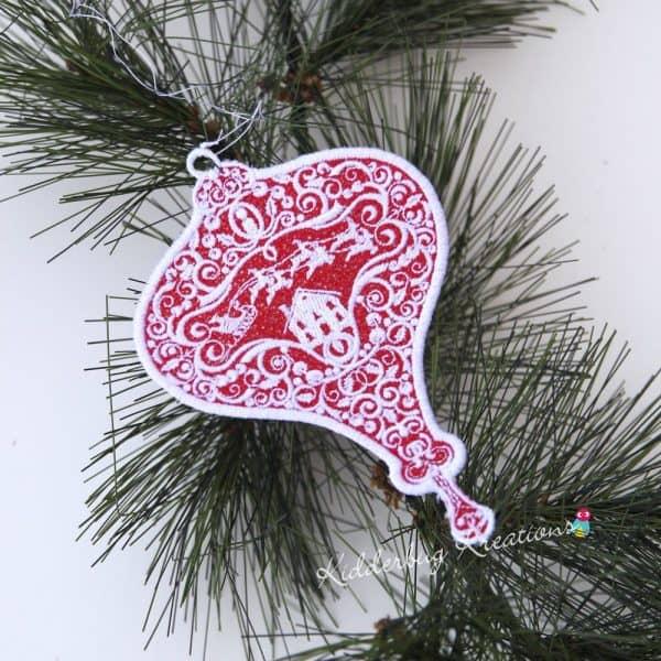 Santa's Sleigh Lace Ornament