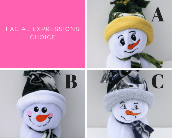 Three snowmen with different facial expressions as options for handcrafted embroidered personalized snowmen.