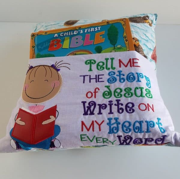 """Girl """"Tell Me the Story of Jesus"""" Reading Pillow"""