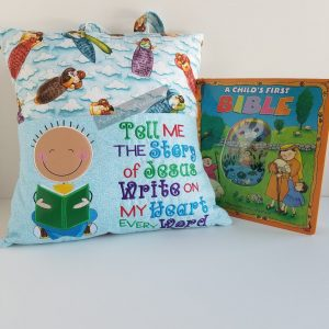 "Boy ""Tell Me the Story of Jesus"" Reading Pillow"