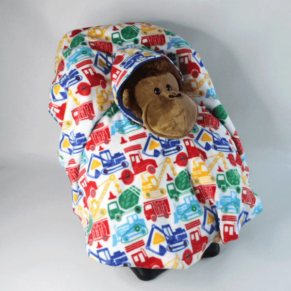 Car Seat Poncho with Truck Fleece