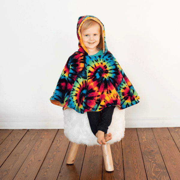 Car Seat Poncho with Tye-Dye Fleece