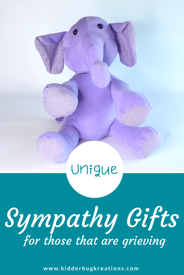 Memory animals from clothes are great keepsakes for years to come. This memory elephant is the perfect handcrafted gift idea to remember a loved one who passed away. A wonderful gift idea for child who lost grandparent, gifts for parent who lost a child, and gifts for child who lost a parent. Shop kidderbugkreations.com for a large selection of sympathy gifts for loss. #kidderbugkreations #handcrafted #giftidea #personalized #customgifts #memorybear loved one in heaven quotes, memory pillow