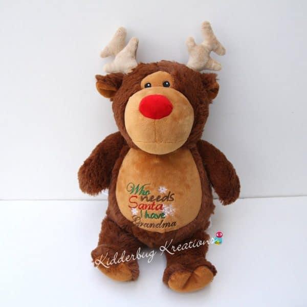 """""""Who Needs Santa, I Have Grandma"""" Stuffed Reindeer"""