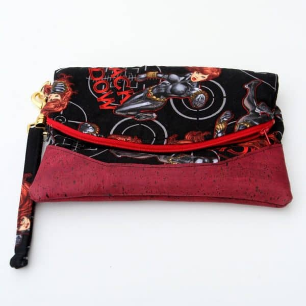 Black Widow fabric wristlet purse