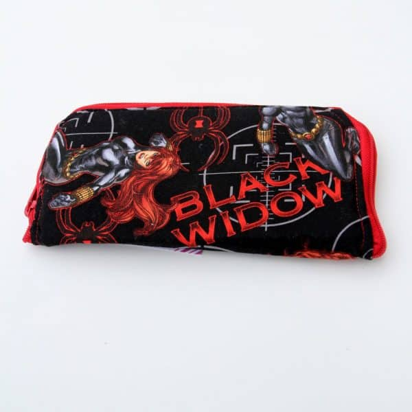 Black widow fabric zip around clutch