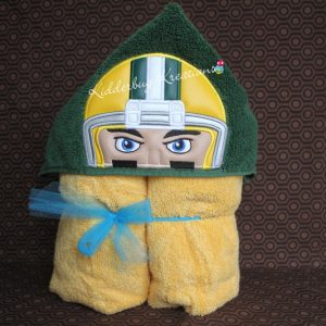 Football Player With Yellow Helmet Hooded Towel