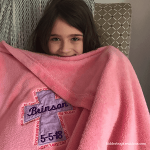 Unique First Communion blanket from Kidderbug Kreations @kidderbugkreations.com