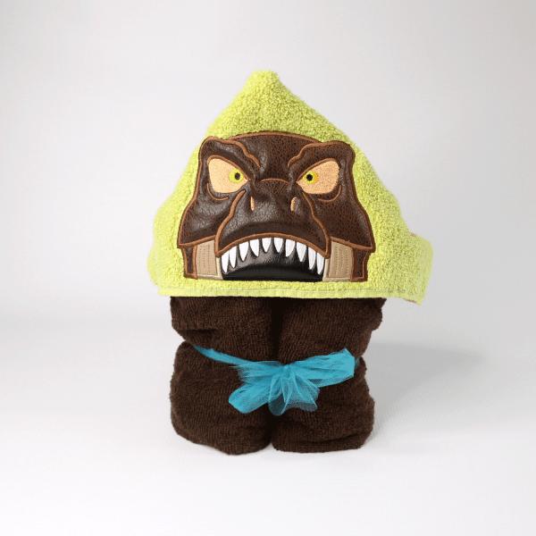 T-rex hooded towel