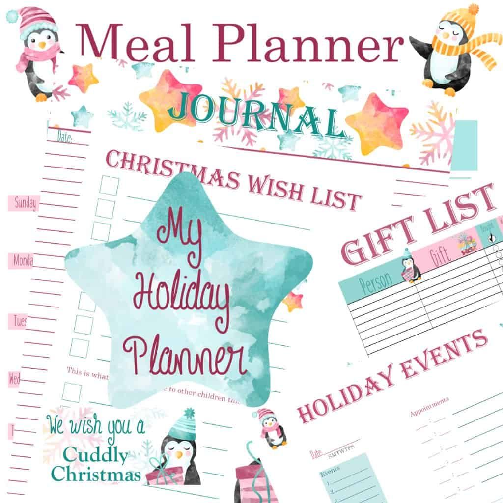 Pink and teal holiday planner with penguins