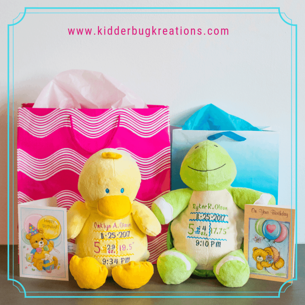 Yellow duck and green turtle personalized birth announcement stuffed animals for birthday gifts.